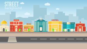 Flat colorful vector sity buildings set. Illustration Stock Photography