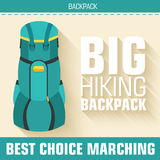 Flat colorful vector tourist backpack equipment Stock Photos