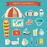 Flat colorful vector tourist equipment infographic. Icons background concept design Stock Images