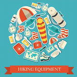 Flat colorful vector tourist equipment infographic Royalty Free Stock Image