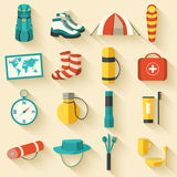 Flat colorful vector tourist equipment infographic Royalty Free Stock Images