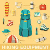 Flat colorful vector tourist equipment set. Illustration Royalty Free Stock Image