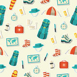 Flat colorful vector tourist equipment set. Illustration Stock Photos