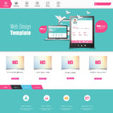 Flat Colorful website template with clean modern design. Royalty Free Stock Photo