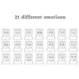 flat colorless icons emotions of people. Stock Photo