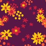 Flat colour autumn flowers seamless pattern background, Surface pattern design stock illustration
