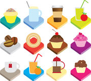 Flat colour detailed icons for coffee and coffee c Royalty Free Stock Image