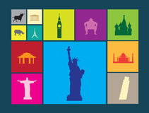Flat colour icons on coloured background of famous landmarks. World famous landmarks as icon or button designs in colour on colour flat backgrounds Royalty Free Stock Image
