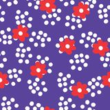 Flat colour Red flowers, polka dot, seamless patern background vector illustration