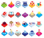 Flat colourful holiday, vacation or beach icons Royalty Free Stock Images