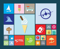 Flat colourful holiday, vacation or beach icons Stock Images