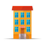 Flat colourful icon of retro house with red roof Royalty Free Stock Photo
