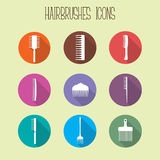 Flat comb icons set Royalty Free Stock Images