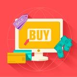 Flat commerce internet buy background vector Stock Image