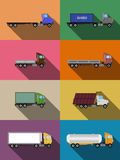 Flat commercial vehicles set Stock Images