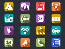 Flat communication long shadow icons Royalty Free Stock Image
