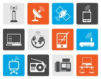 Flat communication and technology icons. Vector icon set Stock Photography
