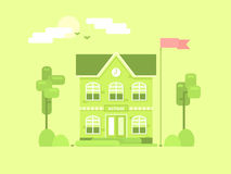 Flat composition of the school. It`s time for spring. Royalty Free Stock Photography