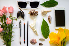 Flat composition on white table. Tropic flowers and leaves. Stock Photography