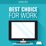 Flat computer on the background with the slogan. Stock Image