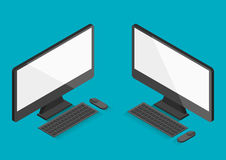 Flat computer desktop isometric 30 degree vector illustration Royalty Free Stock Photos