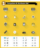 Flat computer hardware icon set Royalty Free Stock Image