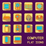 Flat computer icons. Vector illustration of flat icons of computer equipment Royalty Free Stock Image