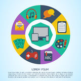 Flat computer infographic background. Stock Images