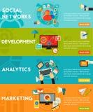 Flat concept banners. Social Marketing, Development, Analytics, SEO Stock Image