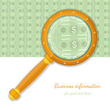 Flat concept business icon bank note through magnifying glass. Flat concept business banner bank note through magnifying glass Stock Photography