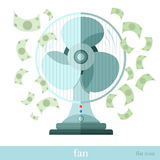 Flat concept business icon fan or ventilator with flying money Stock Photos
