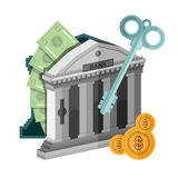 Flat concept business icon money from bank safe with key. On white Royalty Free Stock Image