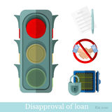 Flat concept business illustration. disapproval of loan or not a loan. On white Stock Photo