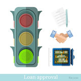 Flat concept business illustration. providing a credit or loan approval. On white Stock Photo