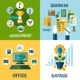 Flat concept of business, office, achievement. Business, office, achievement, savings flat concept with computer, office workplace, money flower and business Royalty Free Stock Image