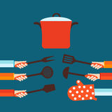 Flat concept for cooking Stock Images