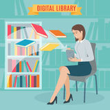 Flat concept of the electronic library. Stock Photos