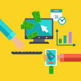 Flat concept for exchange and marketing. stock illustration