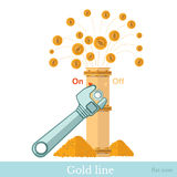 Flat concept financial icon fountain of gold coin from pipline Stock Photo