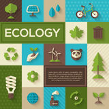 Flat concept icons of ecology. Flat design vector concept illustration with icons of ecology, environment, green energy and pollution. Save world. Save the Royalty Free Stock Photos
