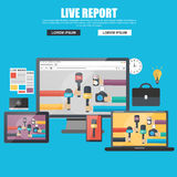 Flat concept for live report Royalty Free Stock Images