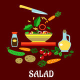 Flat concept of vegetable salad Stock Image