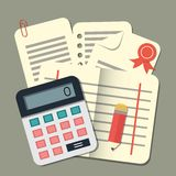 Flat conception calculator and papers. Accounting Stock Image