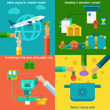 Flat concepts set of online paying, startup and investing in education. Stock Images