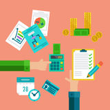 Flat concepts for taxes, finance, bookkeeping and accounting. Stock Photos