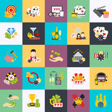 Flat conceptual icons set of casino, casino chips, poker icon Stock Photography