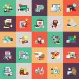 Flat conceptual icons set of education process, online learning Stock Photo