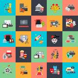 Flat conceptual icons set of movie online and production. Awards ceremony with director viewers and oscar figurine. Flat vector icon Stock Photos