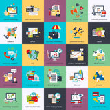 Flat conceptual icons set of seo monitoring and digital marketing Stock Images