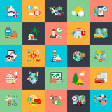 Flat conceptual icons set of tourism recreation, travel vacation Royalty Free Stock Image